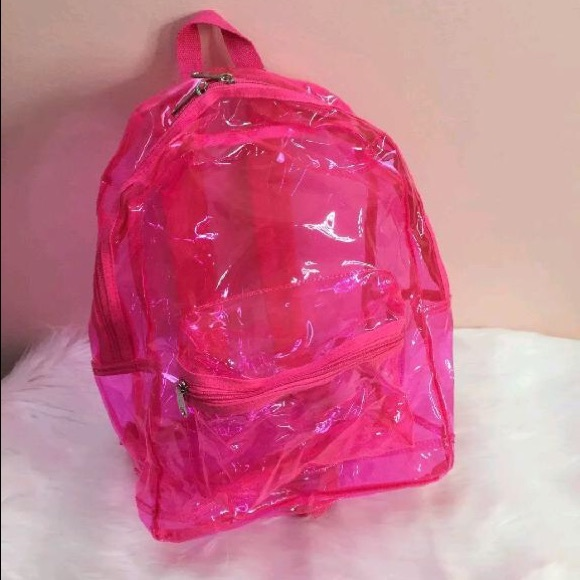 cf4a8c26fa Victoria s Secret PINK Hot Pink Clear Backpack